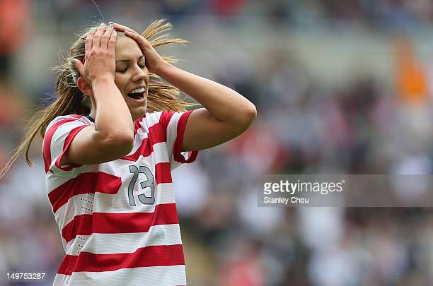 Alex Morgan of the United States reacts after missing a shot at goal during the Women's Football Quarter Final match between United States and New...