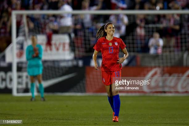 Alex Morgan of the United States reacts after scoring a goal against Australia during the first half at Dick's Sporting Goods Park on April 4, 2019...