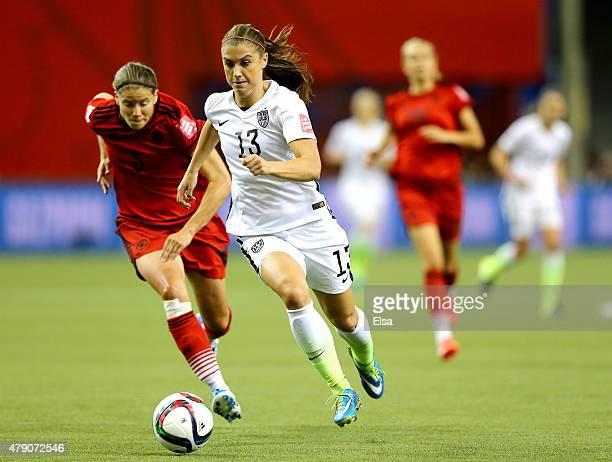 Alex Morgan Of The United States Runs With Ball Ahead Annike Krahn Germany