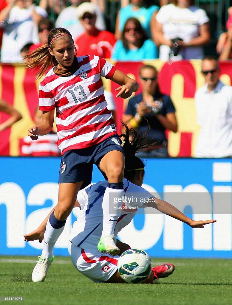 Alex Morgan #13 of the United States Womens National Team attacks against Costa Rica during their friendly match at Sahlen's Stadium on September 1, 2012 in Rochester, New York. The US won 8-0.