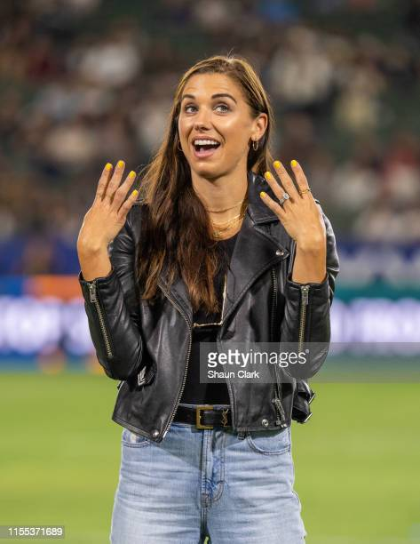 Alex Morgan of the United States Women's National Team during halftime at the Los Angeles Galaxy's MLS match against San Jose Earthquakes at the...
