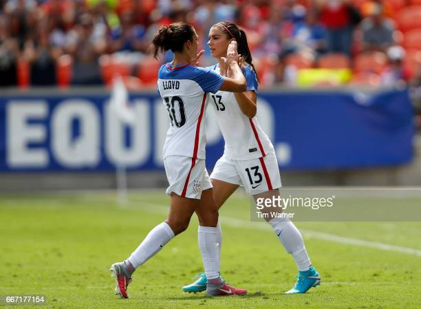 Alex Morgan of the US substitutes for Carli Lloyd in the second half against Russia during the International Friendly soccer match at BBVA Compass...