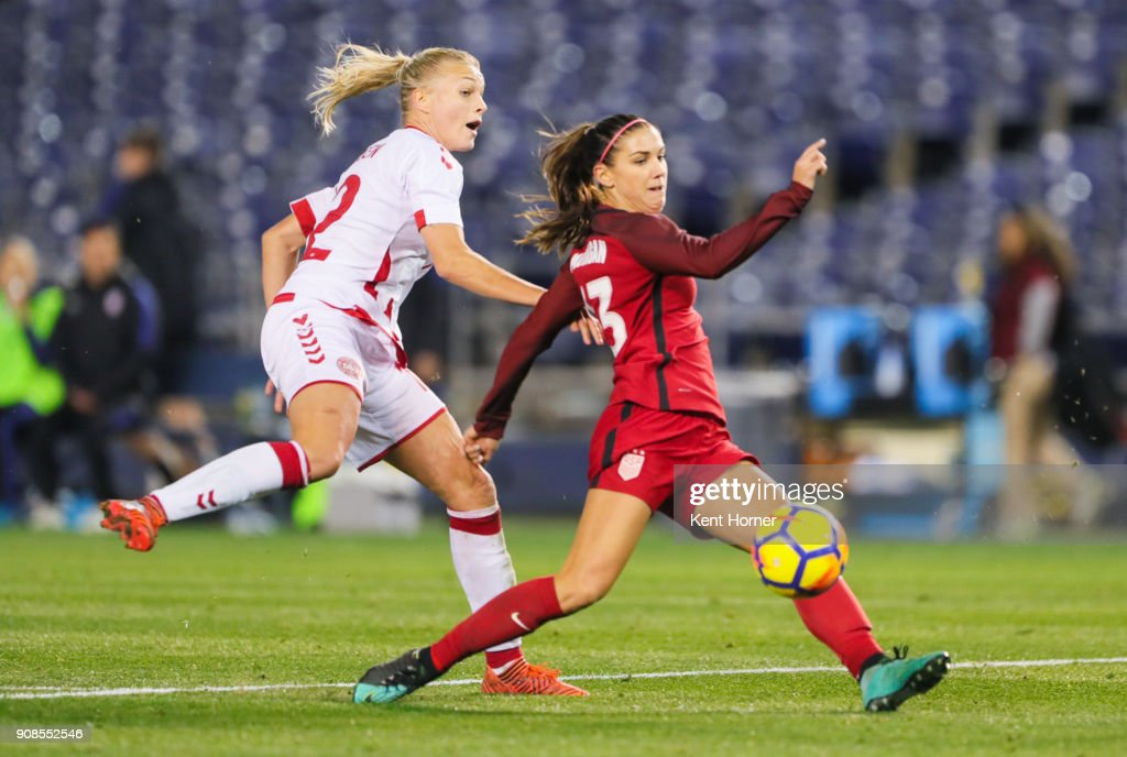 Alex Morgan #13 of the U.S. women's national team shoots the ball on goal during the second half against the Danish women's national team at SDCCU Stadium on January 21, 2018 in San Diego, California.