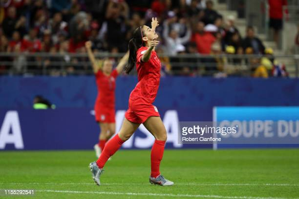 Alex Morgan of the USA celebrates after scoring her team's eighth goal during the 2019 FIFA Women's World Cup France group F match between USA and...