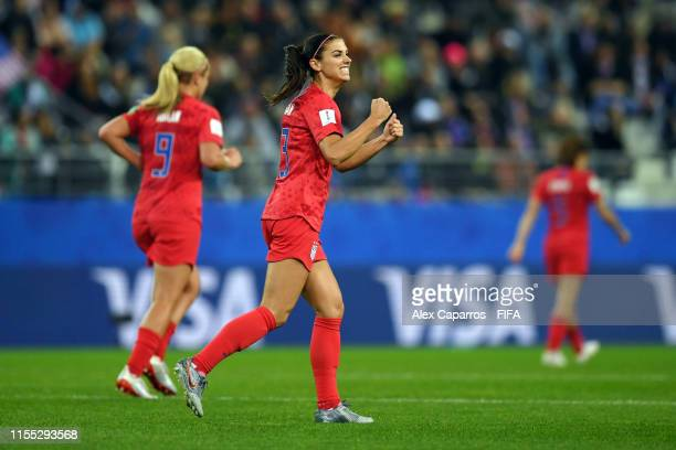 Alex Morgan of the USA celebrates after scoring her team's fifth goal during the 2019 FIFA Women's World Cup France group F match between USA and...