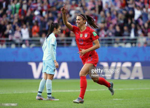Alex Morgan of the USA celebrates after scoring her team's first goal during the 2019 FIFA Women's World Cup France group F match between USA and...