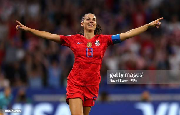 Alex Morgan of the USA celebrates after scoring her team's second goal during the 2019 FIFA Women's World Cup France Semi Final match between England...