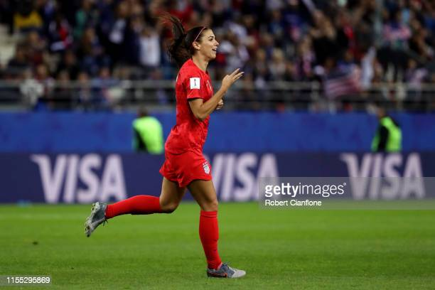Alex Morgan of the USA celebrates after scoring her team's tenth goal during the 2019 FIFA Women's World Cup France group F match between USA and...