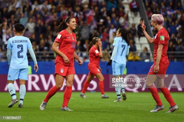 Alex Morgan of the USA celebrates after scoring her team's twelfth goal during the 2019 FIFA Women's World Cup France group F match between USA and...