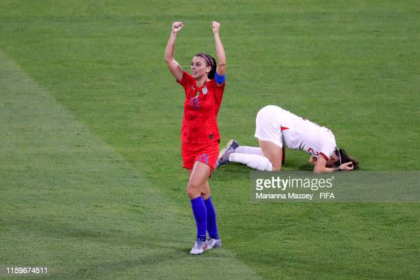 Alex Morgan of the USA celebrates following her sides victory in the 2019 FIFA Women's World Cup France Semi Final match between England and USA at...