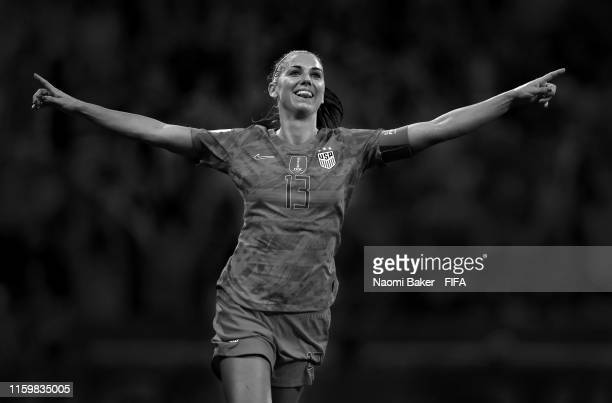 Alex Morgan of the USA celebrates her sides second goal during the 2019 FIFA Women's World Cup France Semi Final match between England and USA at...