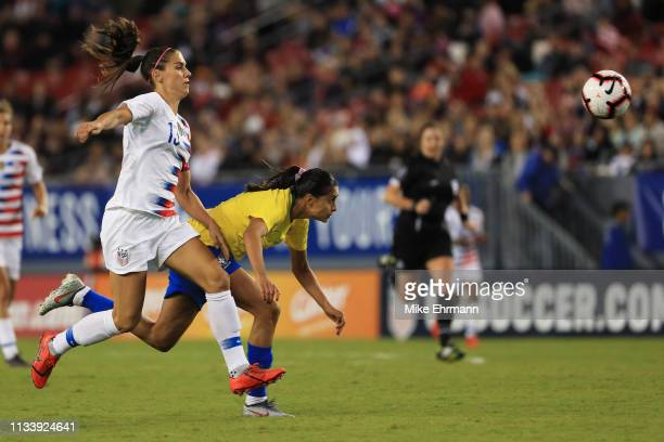 Alex Morgan of the USA chases after the ball in the first half against Brazil during the She Believes Cup at Raymond James Stadium on March 05 2019...