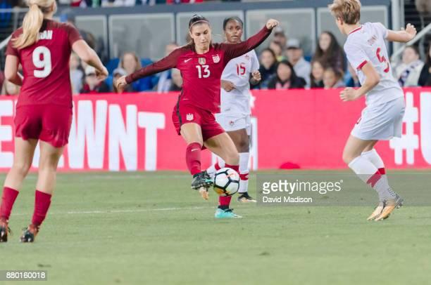 Alex Morgan of the USA plays in an international friendly against Canada on November 12 2017 at Avaya Stadium in San Jose California