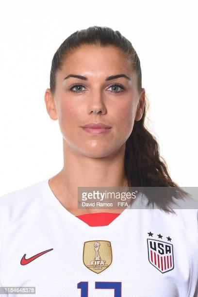 Alex Morgan of the USA poses for a portrait during the official FIFA Women's World Cup 2019 portrait session at Best Western Premier Hotel de la Paix...