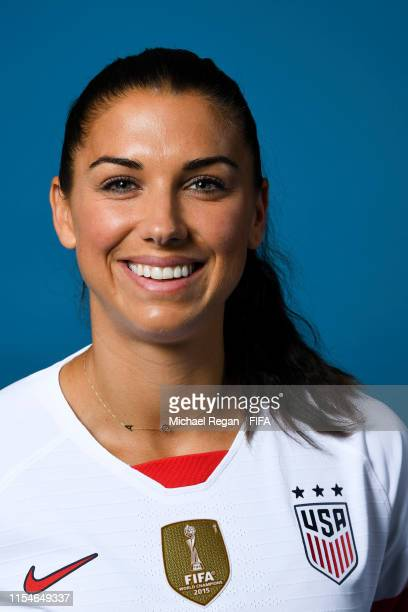 Alex Morgan of the USA poses for a portrait during the official FIFA Women's World Cup 2019 portrait session at Best Western Premier Hotel de la Paix...