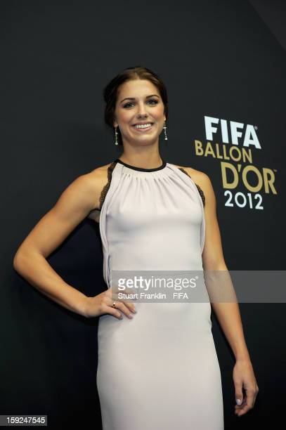 Alex Morgan of the USA poses for photographs on the red carpet during the FIFA Ballon d'Or Gala 2012 at the Kongresshaus on January 7 2013 in Zurich...