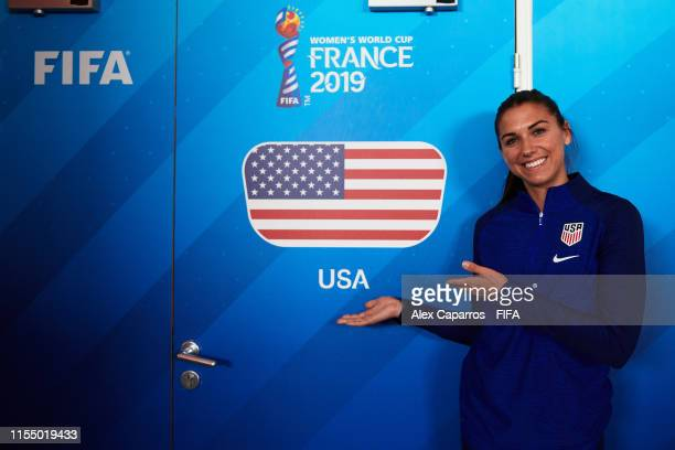 Alex Morgan of the USA poses in from of the USA dressing room before a press conference ahead of the 2019 FIFA Women's World Cup France group F match...