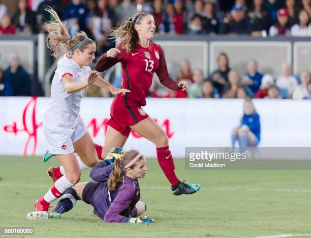 Alex Morgan of the USA reacts after taking a shot on goal during an international friendly against Canada on November 12 2017 at Avaya Stadium in San...