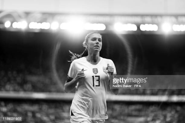 Alex Morgan of the USA runs off the pitch at half time during the 2019 FIFA Women's World Cup France Quarter Final match between France and USA at...