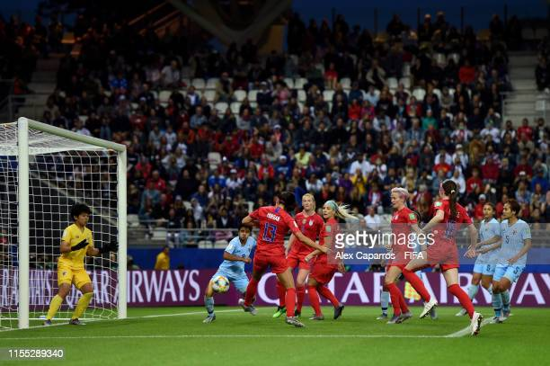 Alex Morgan of the USA scores her team's fifth goal during the 2019 FIFA Women's World Cup France group F match between USA and Thailand at Stade...