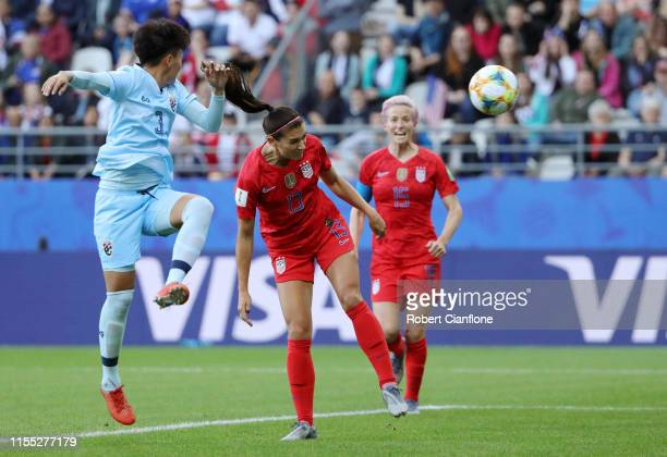 Alex Morgan of the USA scores her team's first goal during the 2019 FIFA Women's World Cup France group F match between USA and Thailand at Stade...