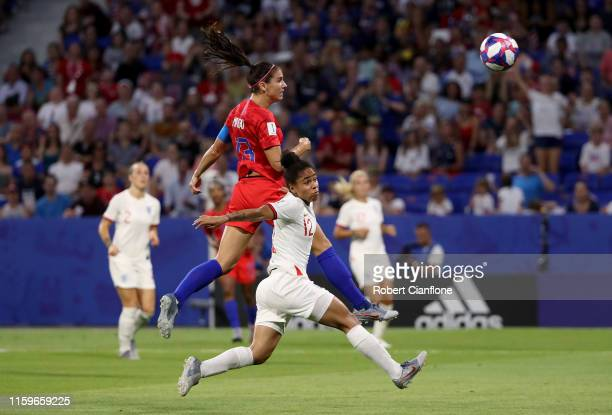 Alex Morgan of the USA scores her team's second goal during the 2019 FIFA Women's World Cup France Semi Final match between England and USA at Stade...