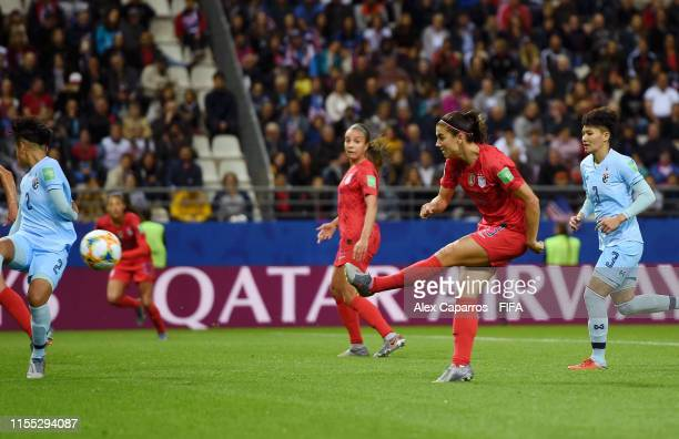 Alex Morgan of the USA scores her team's twelfth goal during the 2019 FIFA Women's World Cup France group F match between USA and Thailand at Stade...