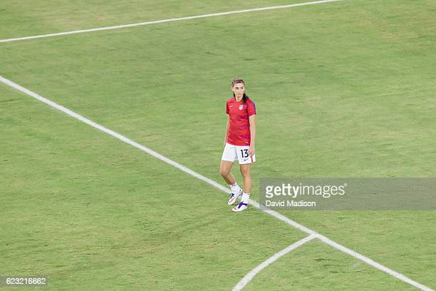 Alex Morgan of the USA warms up before a soccer game against Romania on November 10 2016 at Avaya Stadium in San Jose California