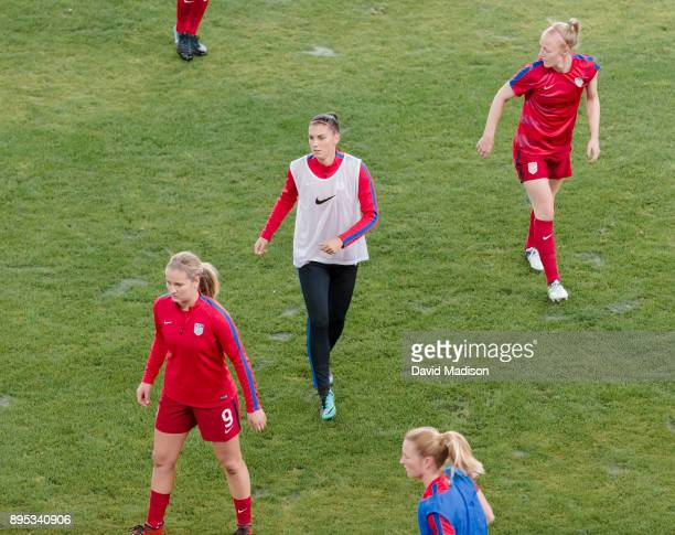 Alex Morgan of the USA warms up with her teammates prior to an international friendly against Canada on November 12 2017 at Avaya Stadium in San Jose...
