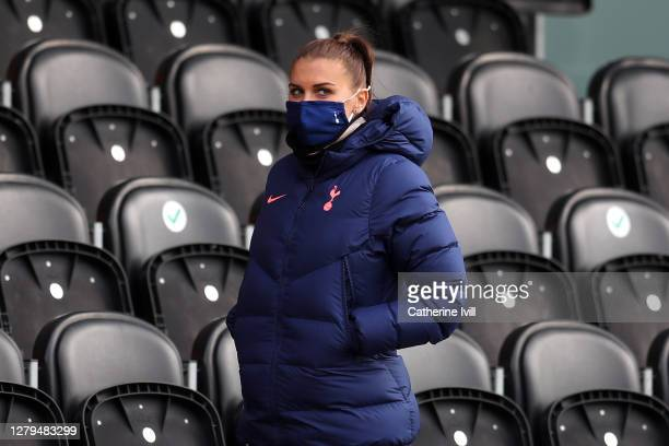 Alex Morgan of Tottenham Hotspur looks on from the stands during the Barclays FA Women's Super League match between Tottenham Hotspur Women and...