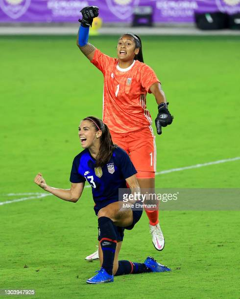 Alex Morgan of United States celebrates a goal during a match against Argentina in the SheBelieves Cup at Exploria Stadium on February 24, 2021 in...