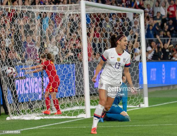 Alex Morgan of United States celebrates her goal during the United States international friendly match against Belgium at Banc of California Stadium...