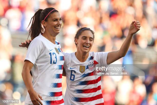 Alex Morgan of United States of America celebrates after scoring a goal to make it 01 during the 2018 Tournament Of Nations women's match between...