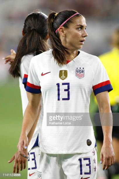 Alex Morgan of United States Women's National Team looks on during a game against the Belgian Women's National Team at Banc of California Stadium on...