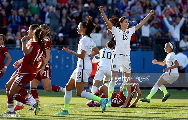 Alex Morgan of USA celebrates after Carli Lloyd of USA scores during the United States v Mexico Group A 2016 CONCACAF Women's Olympic Qualifying at...