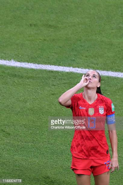 Alex Morgan of USA celebrates scoring their 2nd goal by pretending to drink a cup of tea during the 2019 FIFA Women's World Cup France Semi Final...