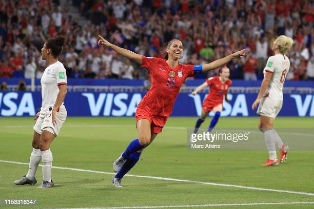 Alex Morgan of USA celebrates scoring their 2nd goal during the 2019 FIFA Women's World Cup France Semi Final match between England and USA at Stade...