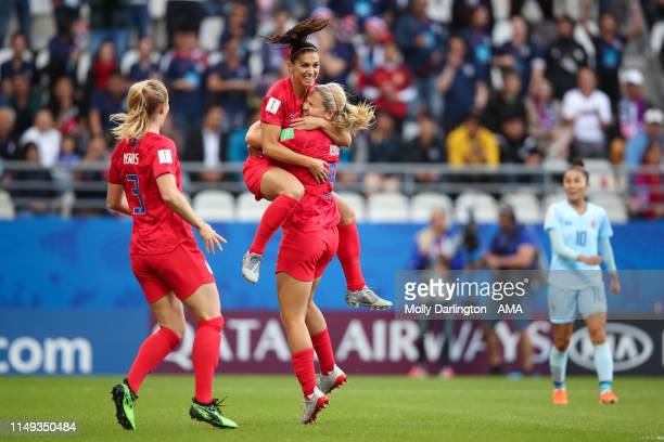 Alex Morgan of USA celebrates with Lindsey Horan of USA after scoring a goal to make it 10 which is rules offside during the 2019 FIFA Women's World...