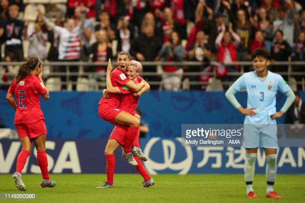 Alex Morgan of USA celebrates with Megan Rapinoe of USA after scoring a goal to make it 130 during the 2019 FIFA Women's World Cup France group F...