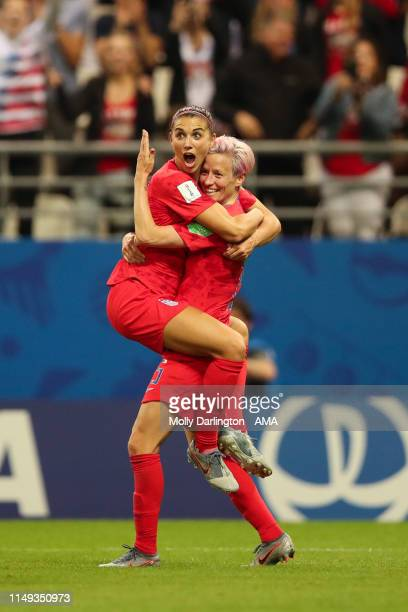 Alex Morgan of USA celebrates with Megan Rapinoe of USA after scoring a goal to make it 120 during the 2019 FIFA Women's World Cup France group F...