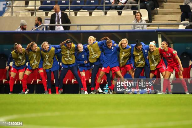 Alex Morgan of USA celebrates with team mates after scoring a goal to make it 120 during the 2019 FIFA Women's World Cup France group F match between...