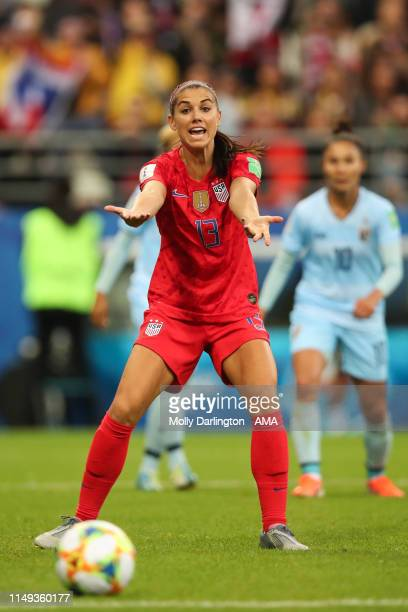 Alex Morgan of USA reacts during the 2019 FIFA Women's World Cup France group F match between USA and Thailand at Stade Auguste Delaune on June 11...