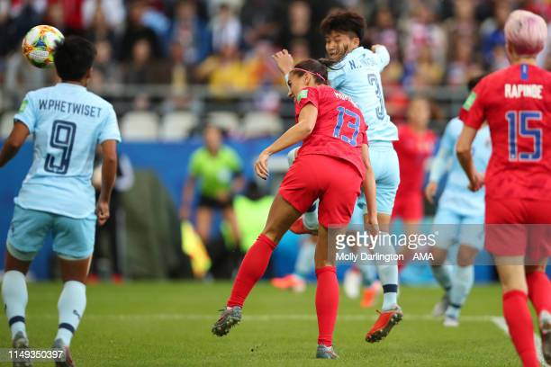 Alex Morgan of USA scores a goal to make it 10 during the 2019 FIFA Women's World Cup France group F match between USA and Thailand at Stade Auguste...