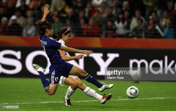 Alex Morgan of USA scores her team's opening goal during the FIFA Women's World Cup Final match between Japan and USA at the FIFA World Cup stadium...