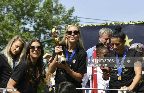 Alex MorganAllie Long NY Mayor Bill de Blasio his wife and other members of the World Cupwinning US women's team take part in a ticker tape parade...