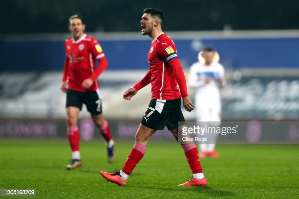 Alex Mowatt of Barnsley celebrates after scoring their side's second goal during the Sky Bet Championship match between Queens Park Rangers and...