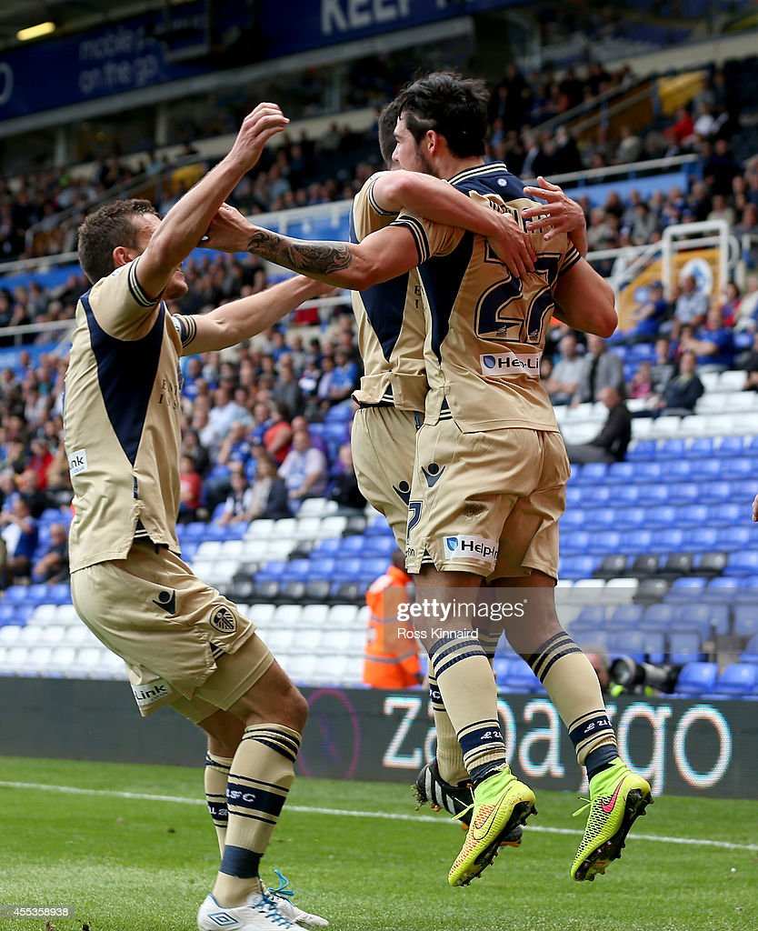 Alex Mowatt of Leeds celebrates after he scores during the Sky Bet Championship match between Birmingham City and Leeds United at St Andrews (stadium) on September 13, 2014 in Birmingham, England.