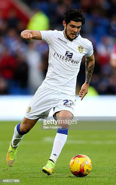 Alex Mowatt of Leeds in action during the Sky Bet Championship match between Cardiff City and Leeds United at Cardiff City Stadium on November 1,...