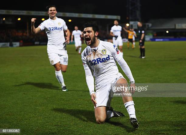 Alex Mowatt of Leeds United celebrates as he scores their second goal during the Emirates FA Cup Third Round match between Cambridge United and Leeds...