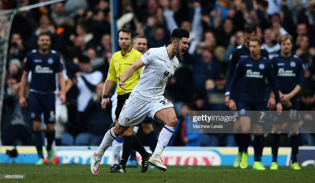 Alex Mowatt of Leeds United celebrates his goal during the Sky Bet Championship match between Leeds United and Millwall at Elland Road on February 14, 2015 in Leeds, England.